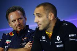 FIA-Pressekonferenz: Christian Horner, Teachefl, Red Bull Racing, Cyril Abiteboul, Geschäftsführer, Renault Sport F1 Team