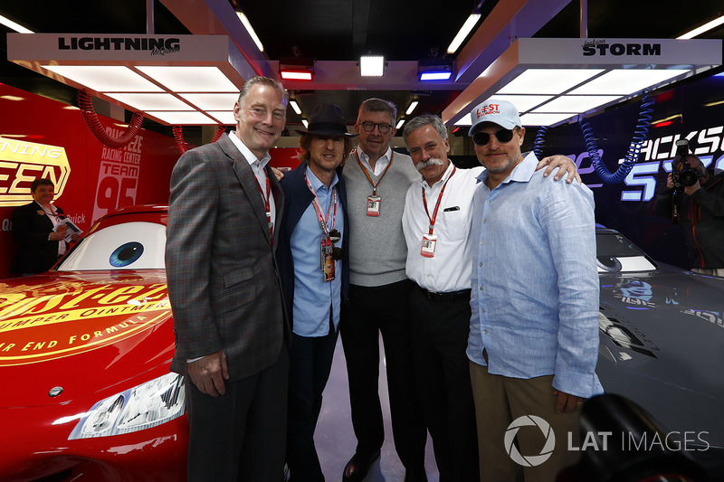 Sean Bratches, Formel-1-Marketingchef, Owen Wilson, Schauspieler, Ross Brawn, Formel-1-Motorsportche