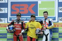 Podium: Race winner Noriyuki Haga, Yamaha; second place Troy Corser, Yamaha; third place Max Neukirchner, Suzuki