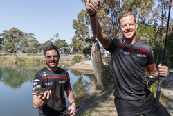 Scott Pye and James Courtney try there hand at trout fishing
