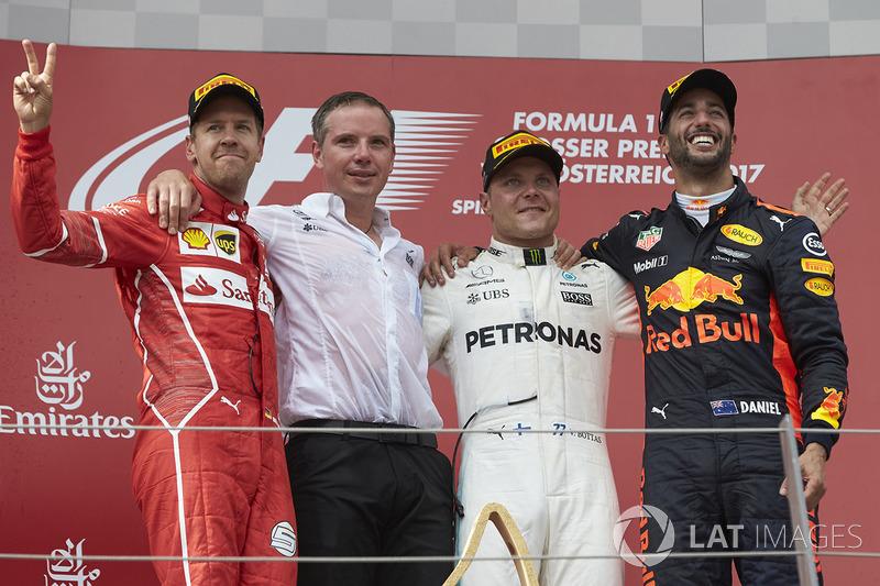 2017: 1. Valtteri Bottas, 2. Sebastian Vettel, 3.Daniel Ricciardo