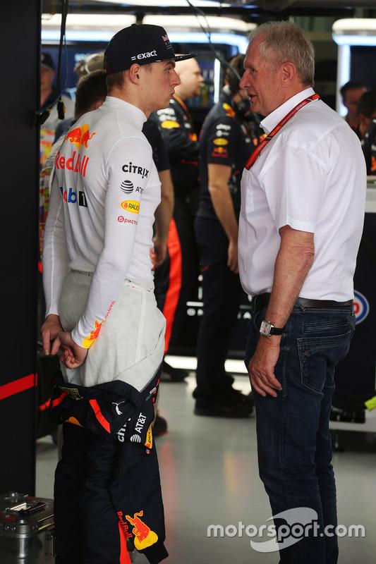 Max Verstappen, Red Bull Racing, talks to Helmut Markko, Consultant, Red Bull Racing