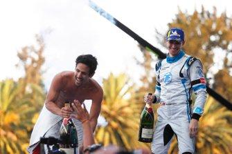Race winner Lucas Di Grassi, Audi Sport ABT Schaeffler celebrates on the podium with Edoardo Mortara Venturi Formula E 3rd position