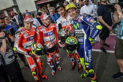 Andrea Iannone, Ducati Team; Andrea Dovizioso, Ducati Team; Danilo Petrucci, Pramac Racing; Valentin