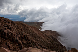 Clouds cover Pikes Peak