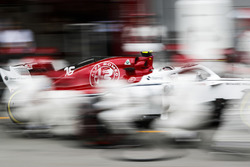 Charles Leclerc, Sauber C37 Ferrari, comes in for a pit stop