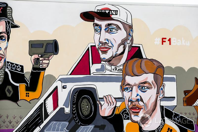 Гран Прі Азербайджану: малюнок Карлоса Сайнса-мол., Ніко Хюлькенберга, Renault Sport F1 Team, Сергія Сироткіна, Williams Racing