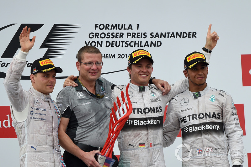 2014: 1. Nico Rosberg, 2. Valtteri Bottas, 3. Lewis Hamilton
