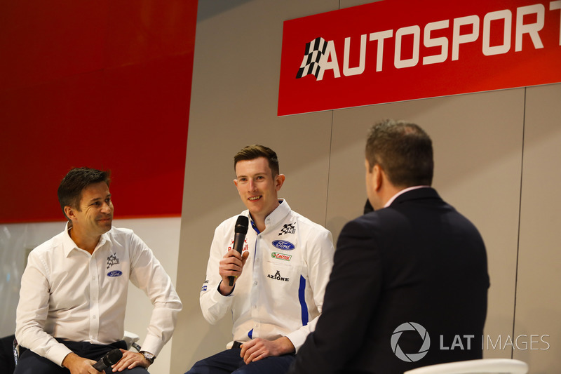 Elfyn Evans talks to Henry Hope-Frost on the Autosport Stage, with Maciej Woda