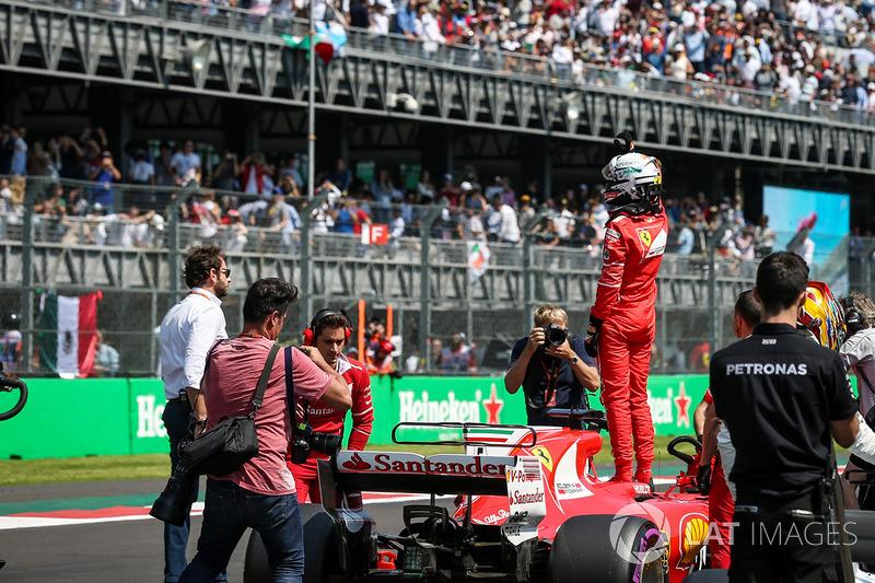 Pole, Sebastian Vettel, Ferrari SF70H celebra en parc ferme