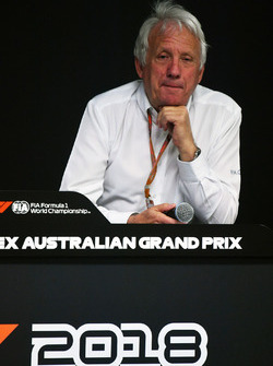 Charlie Whiting, FIA Delegate in a Press Conference