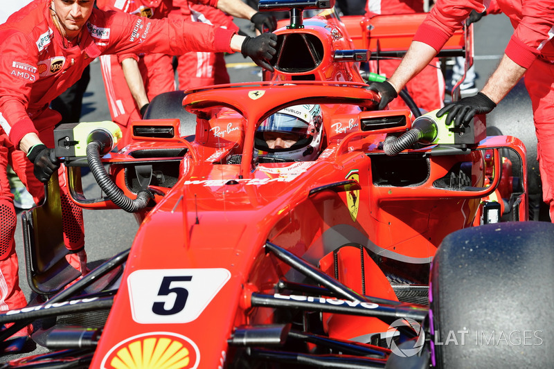 Sebastian Vettel, Ferrari SF71H on the grid