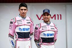 Esteban Ocon, Sahara Force India F1 and Sergio Perez, Sahara Force India