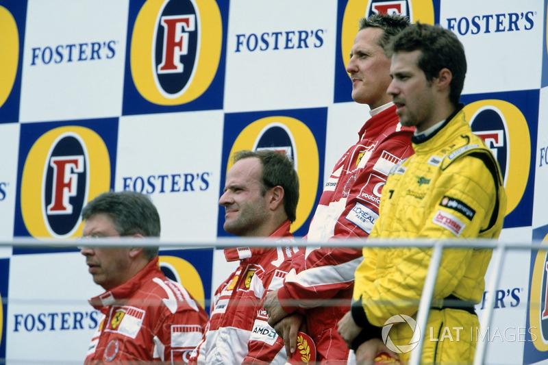 2005 (Індіанаполіс). Подіум: 1. Міхаель Шумахер, Ferrari. 2. Рубенс Баррікелло, Ferrari. 3. Тьягу Монтейру, Jordan-Toyota