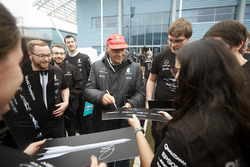 Niki Lauda, Non-Executive Chairman, Mercedes AMG F1 with team members