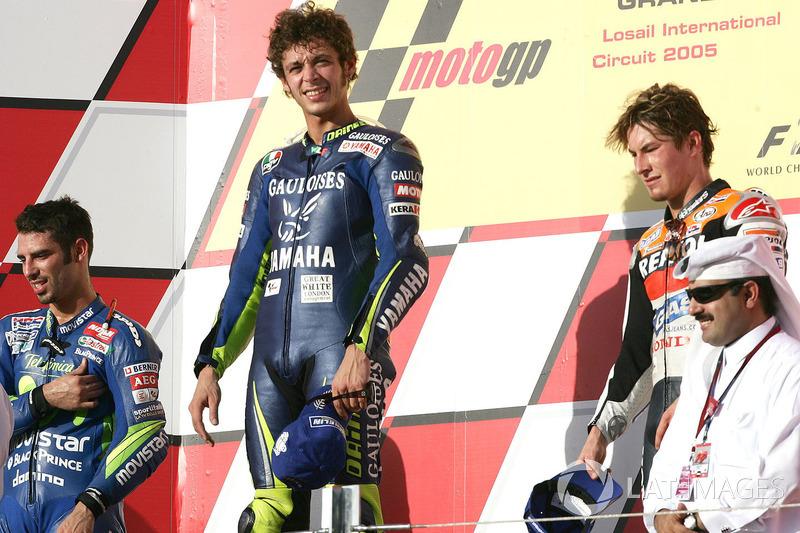 2005: 1. Valentino Rossi, 2. Marco Melandri, 3. Nicky Hayden