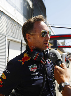 Christian Horner, Team Principal, Red Bull Racing, is interviewed by Channel 4
