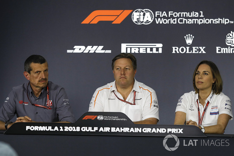 Guenther Steiner, Haas F1 Team Principal, Zak Brown, McLaren Executive Director and Claire Williams, Williams Deputy Team Principal in the Press Conference