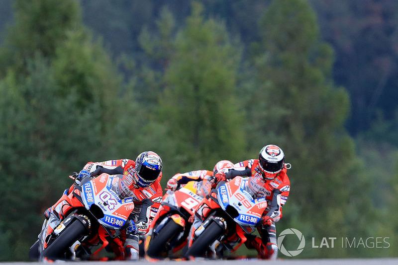 Jorge Lorenzo, Ducati Team, Andrea Dovizioso, Ducati Team, Marc Marquez, Repsol Honda Team