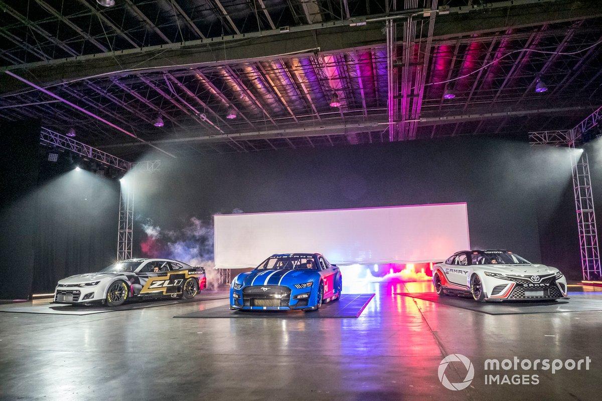 Nascar Next Gen cars: Chevrolet Camaro, Ford Mustang, Toyota TRD Camry