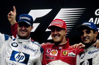 Podium: Race winner Michael Schumacher, Ferrari, second place Ralf Schumacher, BMW Williams, third place Juan-Pablo Montoya, BMW Williams