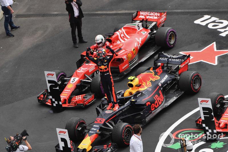 Max Verstappen, Red Bull Racing RB14 celebra en Parc Ferme