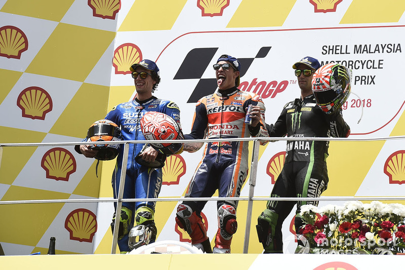Podio: ganador de la carrera Marc Marquez, Repsol Honda Team, segundo clasificado Alex Rins, Team Suzuki MotoGP, tercer clasificado Johann Zarco, Monster Yamaha Tech 3
