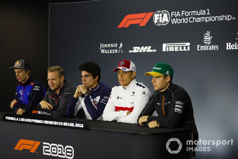 Brendon Hartley, Toro Rosso, Kevin Magnussen, Haas F1 Team, Lance Stroll, Williams Racing, Marcus Ericsson, Sauber, and Stoffel Vandoorne, McLaren, in the Thursday press conference