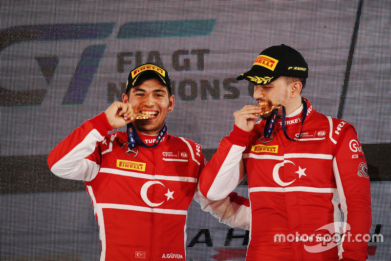 Ayhancan Guven and Salih Yoluc celebrate FIA GT Nations Cup victory