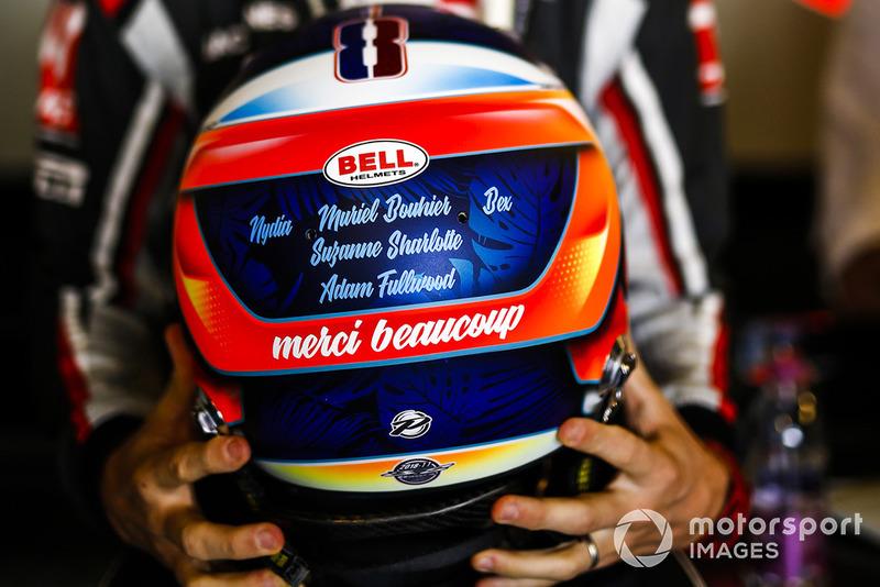 Romain Grosjean, Haas F1 Team, with his helmet