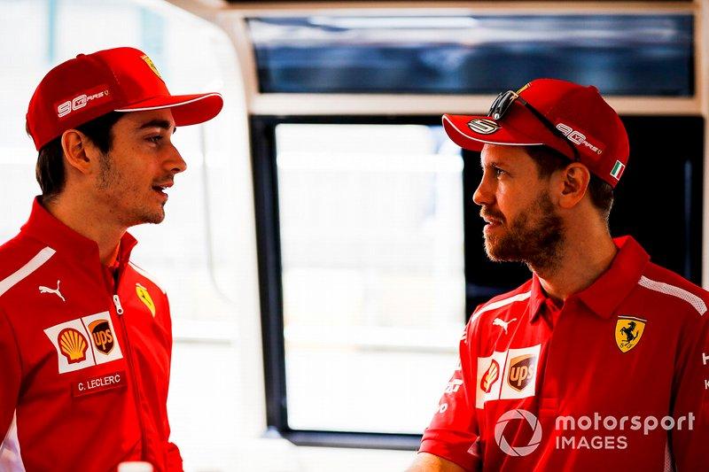 Sebastian Vettel, Ferrari and Charles Leclerc, Ferrari on the way to the Federation Square event