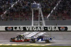 Ben Rhodes, ThorSport Racing Toyota and Christopher Bell, Kyle Busch Motorsports Toyota checkered flag