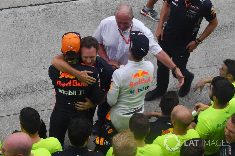 Керівник Red Bull Racing Крістіан Хорнер, Макс Ферстаппен, Red Bull Racing celebrate