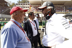 Niki Lauda, Non-Executive Chairman, Mercedes AMG F1, Mansour Ojjeh of McLaren