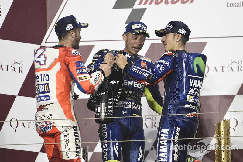 Podio: Maverick Viñales, Yamaha Factory Racing, Andrea Dovizioso, Ducati Team, Valentino Rossi, Yama