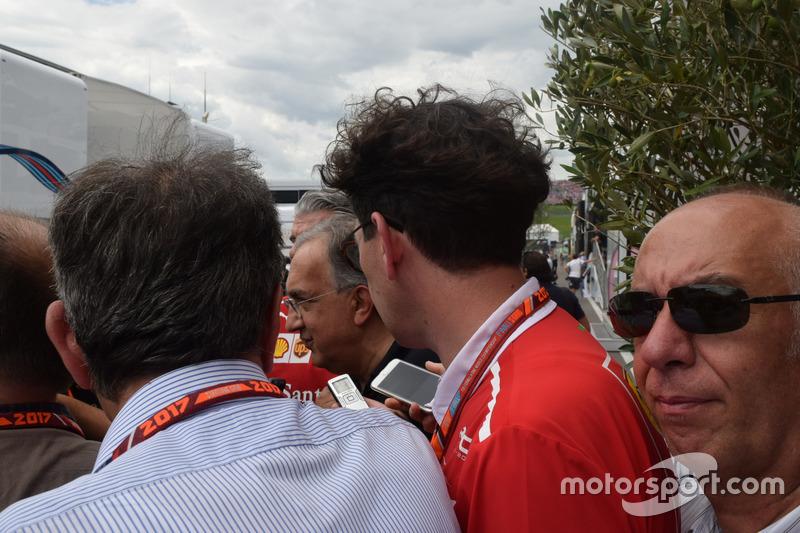 Maurizio Arrivabene, Team Principal Scuderia Ferrari, Sergio Marchionne, Presidente Ferrari e CEO di Fiat Chrysler Automobiles e Mattia Binotto