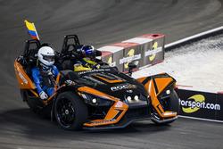 Juan Pablo Montoya, driving the Polaris Slingshot SLR on track