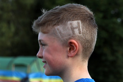 Fan, Lewis Hamilton, Mercedes AMG F1 initials shaved into his head