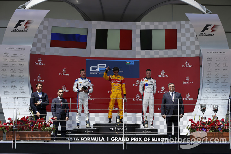 Podio: ganador de la carrera Antonio Giovinazzi, PREMA Racing, segundo lugar Sergey Sirotkin, ART Grand Prix & tercer lugar Raffaele Marciello, RUSSIAN TIME
