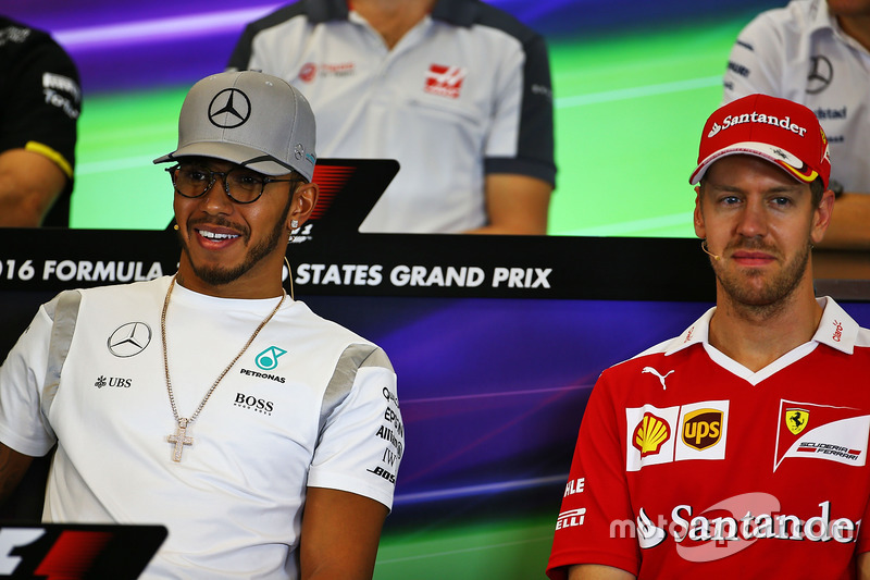 (L to R): Lewis Hamilton, Mercedes AMG F1 and Sebastian Vettel, Ferrari in the FIA Press Conference
