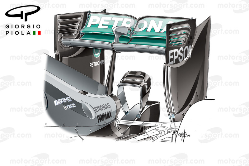 Mercedes W07 rear wing, Barcelona