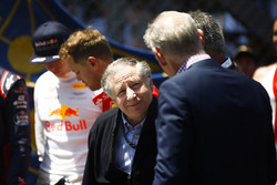 Jean Todt, President, FIA, talks, Sean Bratches, Managing Director of Commercial Operations, Formula One Group