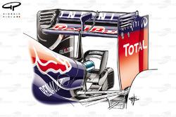 Red Bull RB10 monkey seat, montato sul cuneo inferiore usato di solito