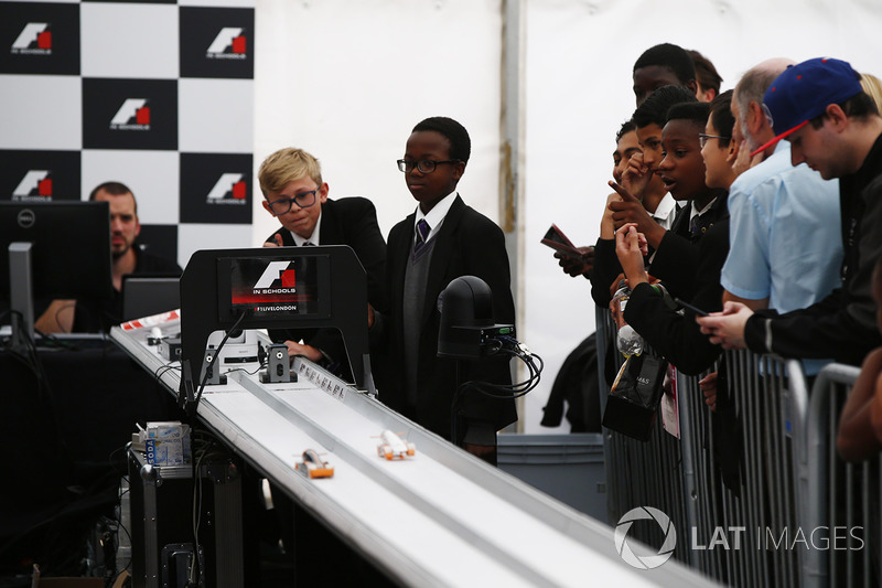 Schoolchildren at the F1 in Schools display