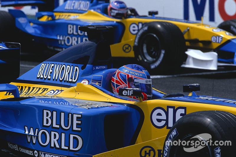 Jenson Button, Renault R202, avec Jarno Trulli
