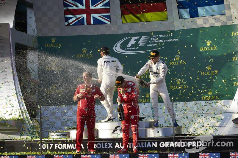Sebastian Vettel, Ferrari, Lewis Hamilton, Mercedes AMG, Valtteri Bottas, Mercedes AMG, Luigi Frabon