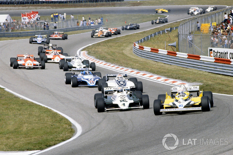 René Arnoux, Renault RE30, Alan Jones, Williams FW07C-Ford Cosworth, Nelson Piquet Brabham, BT49C-Ford Cosworth, Jacques Laffite, Ligier JS17-Matra
