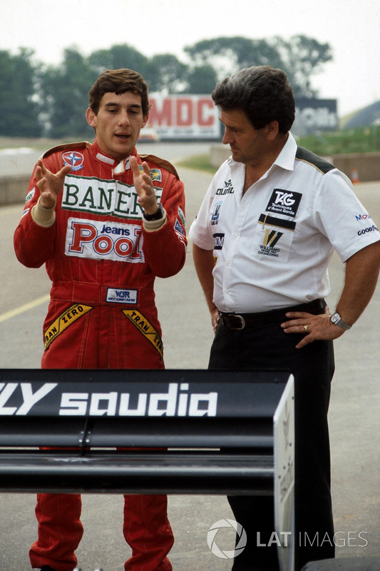 Ayrton Senna, habla de su primera vuelta en el Williams FW08C con Allan Challis manager del equipo
