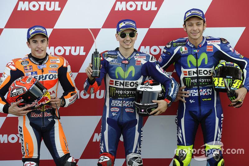 Polesitter: Jorge Lorenzo, Yamaha Factory Racing; 2. Marc Marquez, Repsol Honda Team; 3. Valentino Rossi, Yamaha Factory Racing