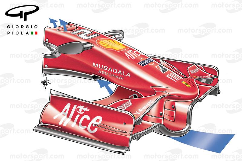 L'aileron avant de la Ferrari F2008 en Espagne